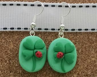 Polymer Clay Four Leaf Clover Earrings
