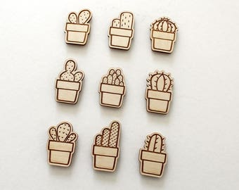 wooden cactus magnets, set of 3 • laser cut • refrigerator magnets • stocking stuffers • plant lovers • houseplant art