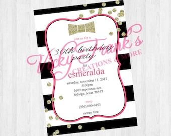 Kate Spade Inspired Birthday Invite; 30th Birthday; Birthday
