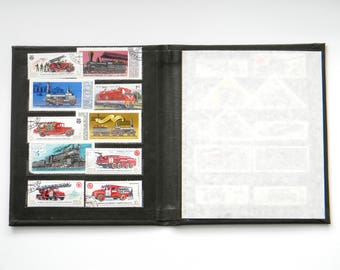 Soviet Postage Stamp Collecting Album-Vintage Stamp Book-philately-Small Stamp Holder-FIRE MACHINES, TRAINS