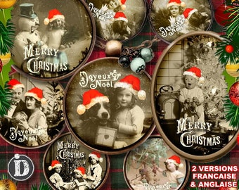 CHRISTMAS POSTCARD  Digital Collage Sheet Printable Instant Download for art jewelry scrapbooking bottle caps magnets pins