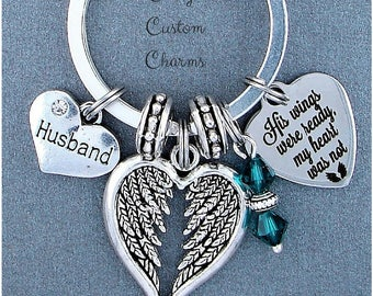His Wings Were Ready Memorial Keepsake Charm Keychain, Husband, Swarovski Birthstone, Sympathy Jewelry Gift For Wife, Picture, Loss Spouse