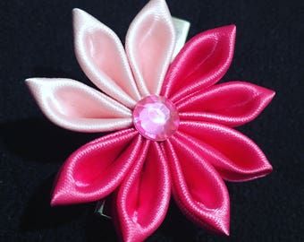 Hot pink victorias secret inspired Kanzashi Lapel pin / military pin / Hair clip / Hair pin