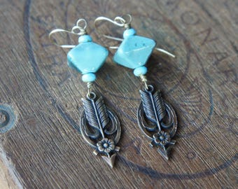 Lover's Arrow French Brass Earrings with Greek Octahedron Ceramic Beads