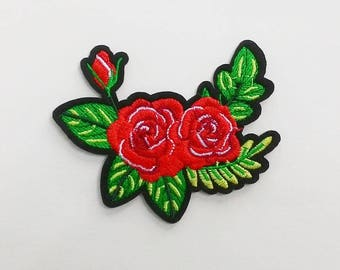 Red Roses Floral Iron On Patch.