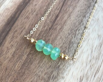 Mint Chalcedony Necklace, Mint Necklace, Layering Necklace, Delicate Gold Mint Necklace, Chalcedony Necklace, Gold Necklace, Mint Chalcedony