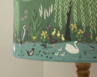 Lewis and Irene lampshades, handmade fabric ceiling/table, 40 or 30cm Down by the River