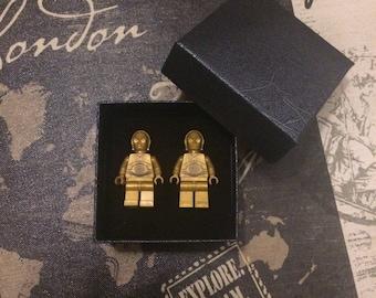 Star Wars cufflinks - Lego C3 -PO cufflinks - wedding cufflinks - groomsmen gift - cufflinks for groom - Father's Day gift.