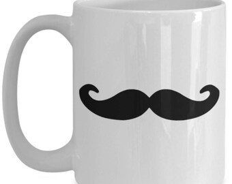 15 oz black mustache mug