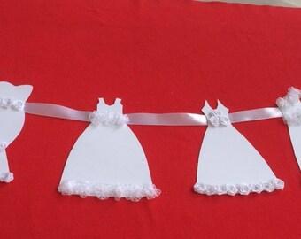 Wedding dress garland - white wedding dress bunting - wedding decoration ....