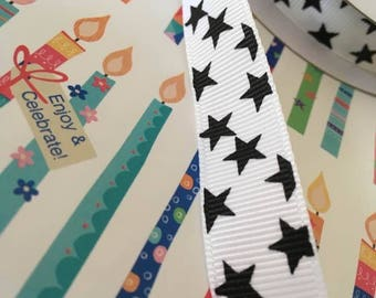 Printed grosgrain ribbon, white with black stars, 15mm wide, by 1m lengths