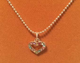 Multi colored crystal heart charm necklace