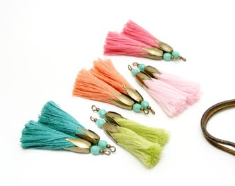 10 tassels pink, coral, emerald green, Pearl Turquoise, bronze Cap