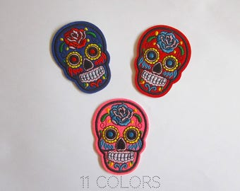 Mexican skull iron on patch, Calavera patch, Day of the dead skull patch, Punk patches iron on applique, Skull applique sew on patch