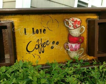 Hand painted coffee tray