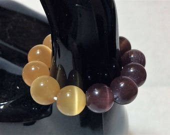 """Ring T: 54 to 60 women """"two-colored cat's eye"""""""