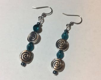 """""""Turquoise Triangle and spiral flames"""" earrings"""