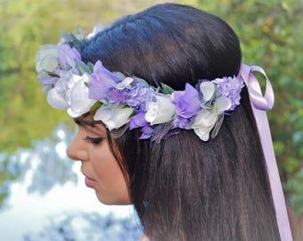 Lavender flower crown, Boho Flower Crown, Pastel flower crown, wedding flower crown, bridal flower crown, floral crown, purple crown