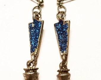 Edgy blue dangle earrings