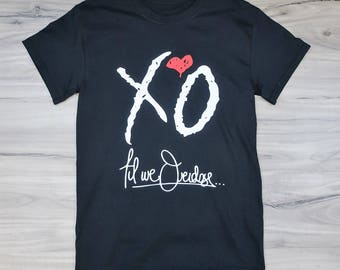 XO Till We Overdose, XO The Weeknd T-Shirt - Black - Starboy (White and Red Print)