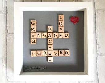 Engagement gift, engagement frame, anniversary gift, gift for her, gift for him, Valentine's Day gift, couples gift, scrabble frame unique