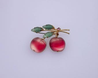 Vintage Austria Double Cherry Fruit Pin 2 Toned Satin Glass Pink Red Color