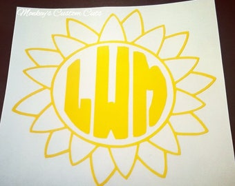 Sunshine Monogram Car Decal, Sunshine Monogram, Sunshine Car Decal, Monogram Car Decal, Sunny Car Decal, Sunny Monogram, Sun Car Decal, Sun