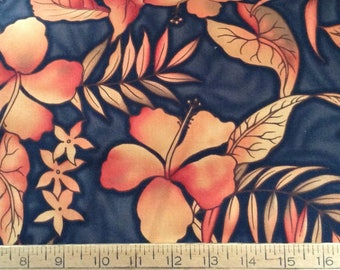 Tangerine and brown tropical cotton print by the yard