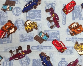 Flannel/Cars on light blue background cotton fabric by the yard
