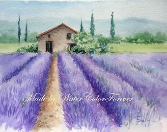 Provence, original watercolor, original Painting, landscape, lavender, picture for home, scenery, watercolor painting, lavender field