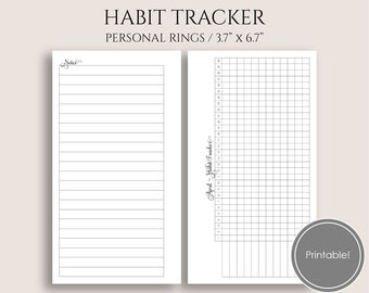 """Monthly Habit Tracker Printable Planner Inserts, Task Trackers, Habit Building Reminder ~ Personal Rings / 3.7"""" x 6.7"""" Instant Download"""