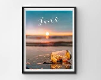 Sunset PRINTABLE, Sunset Print, Beach Wall Art, Beach Print, Gold Print, Faith Print, Printable Quote, Inspiration, Fairy Light, Motivation