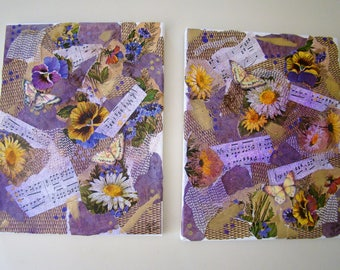 Pair of 11x14 mixed media collages with daisies, pansies, and music notes. #mixedmediaart #mixedmediacollage #flowercollage #musicnotesart