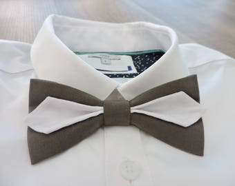 Bow tie double taupe and white