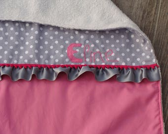 Gray plaid blanket pink very soft (made to order)