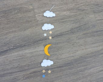 vertical Garland with clouds and moon