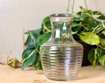 Vintage Anchor Hocking Ribbed Glass Decanter with Lid