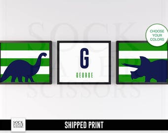 CUSTOM Name Sign, Dinosaur Name Print, Nursery Wall Art, Dinosaur Nursery Art, Monogram Print, Dinosaur Wall Art, Kids Monogram Sku-CNA102