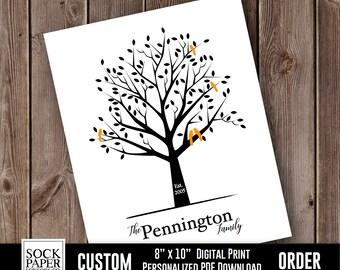 Custom Family Tree Digital Download, Personalized Family Tree Print, Family Name Print, Family Tree With Birds, Family Tree Gift, Sku-CHO116