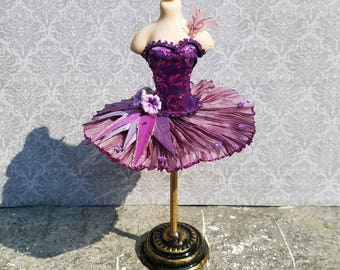 Miniature dollhouse purple ballet tutu,  1:12 scale