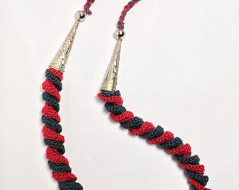 Blue and red spiral necklace