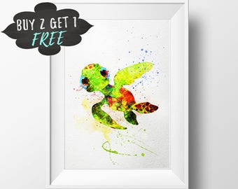 Turtle Wall Art Decor Print Poster, Printable Finding Dory Squirt Wall Art, Nursery Decor Watercolor Instant Download, Finding Dory Decor
