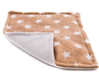 Guinea pig and small animal .WATERPROOF pee pad,beige stars 12x9