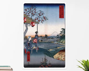 "Utagawa Hiroshige, ""The Teahouse..."".  Art poster, art print, rolled canvas, art canvas, wall art, wall decor"