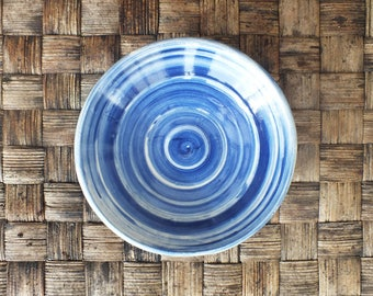 Blue spiral motif ceramic plate, porcelain, home decor, crockery, decoration, cooking, tableware, fruit bowl, stoneware, serving platter