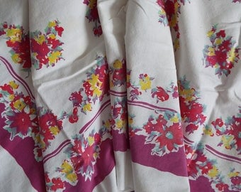 Vintage Floral Roses Red Yellow Linen Table Cloth