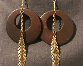 Wood earring with antique gold leaf