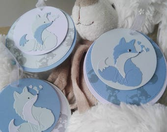 Personalized round baptism - Fox/bird or birth announcements