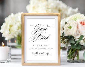 Wedding Guest Book Signs Printable, Calligraphy Wedding Guest Book Signs Printable, Mr & Mrs Guest Book Sign Printable PDF Instant Download