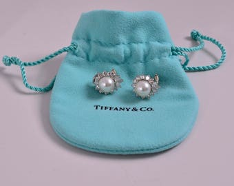 Tiffany & Co. Platinum Diamond and Pearl 8MM Earrings